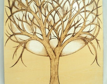 Moon Catcher Woodburned Full Moon and Tree Wood Panel Art, Ready to Hang Wood Artwork