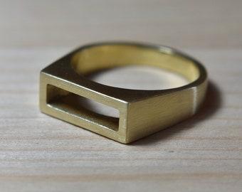 Mens Matte Brass Wedding Ring. Matte Brass Ring for men. Mens Matte Rings. Geometric Mens Brass Ring. Minimalist Mens Brass Ring