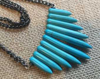 Turquoise fan necklace, long necklace, long turquoise necklace, fan necklace, long chain necklace, blue necklace