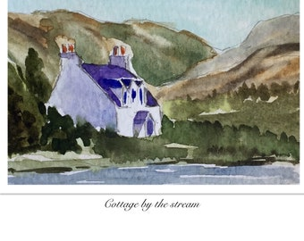 Landscape ORIGINAL Miniature Watercolour Cottage by the Stream, ACEO Watercolor painting For him For her Home decor Wall art Gift Idea