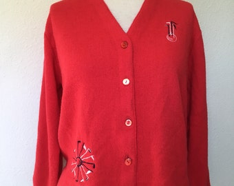 Vintage red cardigan golf club embroidered, golf cardigan vtg, mod cardigan sweater, retro golf sweater, 60s 1960s, 50s 1950s