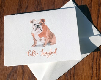English Bulldog Personalized Stationery, great gift for dog lovers, Bulldog stationery set 100% Cotton Savoy, custom gifts for dog lovers