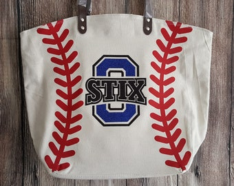 Personalized Baseball Purse Custom Team Logo Baseball Tote Bag White Baseball Bag Tote Bag Custom Last Name Nickname Number for Mother's Day