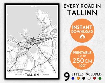 Tallinn map print, Tallinn print, Tallinn city map, Estonia map, Tallinn poster, Tallinn wall art, Map of Tallinn, Tallinn art print