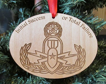EOD Crab Wood Christmas Ornament - Wooden Military Christmas Gift - Explosive Ordnance Disposal Badge