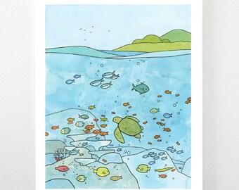 Sea Turtle and Coral Reef, Ocean nursery - Limited edition art print