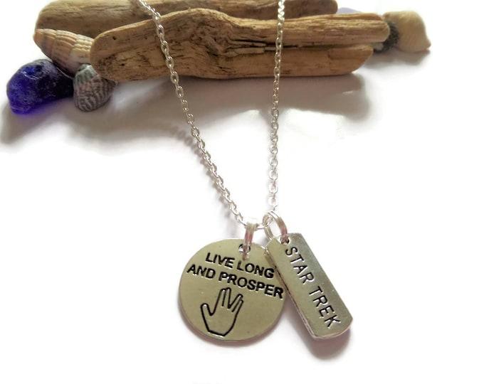 star trek gift, star trek necklace, live long, and preoper, fan gift, fan necklace, fandom, trekkie gift, trekkie, space jewellery,