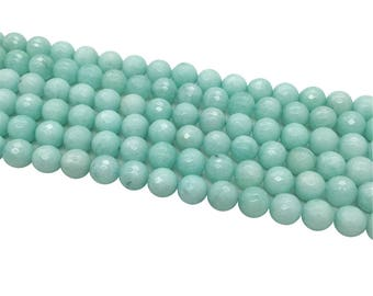 1Full Strand Light Blue Jade Faceted Round Beads,  8mm 10mm Jade Gemstone For Jewelry Making