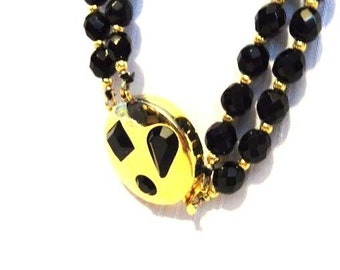 Vintage 100% Authentic GIVENCHY Black & Gold Convertible Beaded Necklace Choker