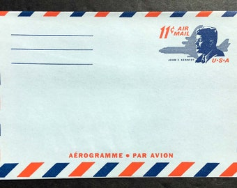 1965 John F. Kennedy, Aerogramme, Air Letter Sheet, Air Mail Sc #UC38