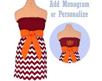 Orange + Maroon Chevron Dress