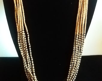 Vintage Beaded Necklace Multi Strands Tan and Metalic Beads 25in