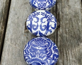 SALE15 Knobs hand decorated  drawer knobs; blue toile- 1 1/2 inches