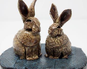 Ceramic Bunny Rabbit Sculpture
