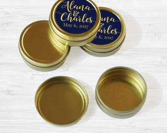 150 Personalized Names and Date Wedding Favor Tins - Gold Wedding Favor Tins - Mint Tin - Gold Mint Tin Favors - Gold Tin Mints