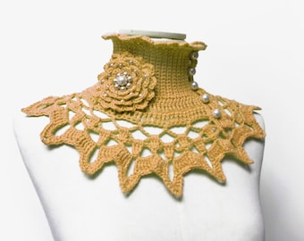 Custom Color Collar with Turtleneck, Crochet Ruffled and Lace Neck Piece, Mustard Yellow Wool Neckwarmer, Victorian Style, Mother Gift Idea