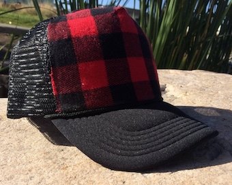 Buffalo plaid, black hat, buffalo plaid hat, red plaid, cute hat, trucker hat, snapback hat, buffalo plaid trucker hat, cute hat, flannel
