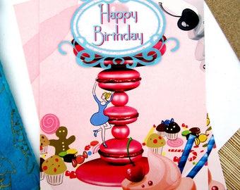 Illustrated postcard / happy birthday gourmet