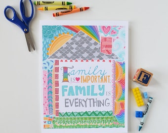 Family, Family is Everything, Family Values, Family Motto Inspiring Quote, Home is Where the Heart is, Art Print, Home sweet home, I love us
