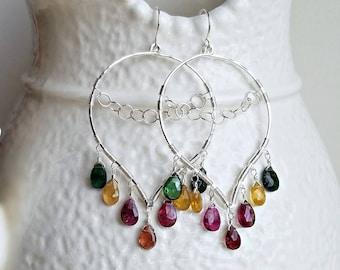 Tourmaline Chandelier Earrings, Tourmaline Lotus Hoops, Wire Wrapped Tourmaline Earrings, Boho Hoop Earrings:  Ready Made