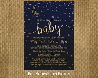 Moon and Stars Baby Shower Invitation,Navy,Gold,Gender Neutral,Crescent Moon,Stars,Book Poem,Shimmery,Printed Invitation,Custom,Envelope