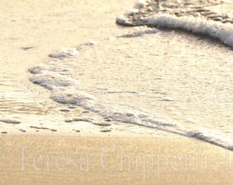 Beach Photo, Ocean Waves Print, Black and White Photography, Seascape, Breaking Waves, Glistening, Soft Light, Water, Golden Sand, Seaside