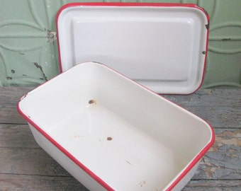 Enamelware Box, Kitchen Storage, Refrigerator Box, Enamelware Box with Lid, Vintage Enamelware Box, Red and White enamelware