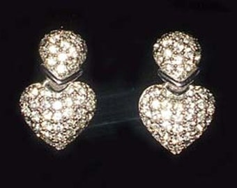 Christian Dior Heart Earrings With Crystals Silver Clip On Vintage Authentic Signed