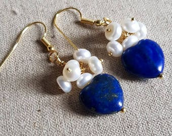 Lapis Lazuli heart and freshwater pearl earrings