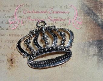 48mm Antique Silver Regal Crown Pendant