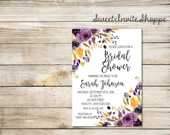 Gold And Purple Bridal Shower Invitation, Purple Floral Bridal Shower Invitation, Boho Bridal Invitation, Watercolor Shower Invitation