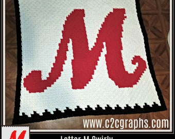 Letter M Swirly Afghan, 3 color, C2C Graph, and Written Word Chart