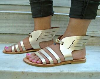 Sandales grecques, sandales en cuir, des sandales, sandales à la main, sandales en cuir grec, sandales d'été, sandales femmes, or Hermes