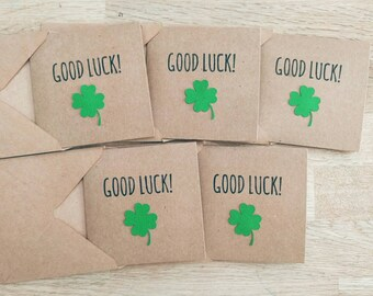 Pack of 5 cute handmade good luck cards with lucky four leaf clover