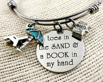 A BOOK In My Hand Stamped Beach Bracelet or Necklace - Toes In the Sand Girl - Book Lover Cruise Jewelry - Ocean