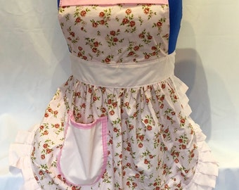 Retro Vintage 50s Style Full Apron / Pinny - Pink Roses with Baby Pink Trim