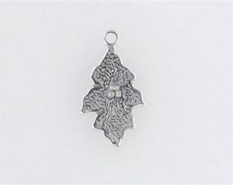 Sterling Silver Enameled Oak Leaf Charm