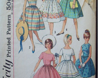 Fitted Bodice Gathered Skirt 1960s Dress Simplicity Pattern 4925 Size Sub-Teen 14s Measurements:  33-26-36