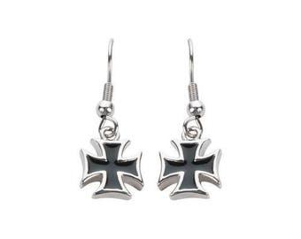 Iron Cross French Wire Earrings Stainless Steel Motorcycle Biker Jewelry