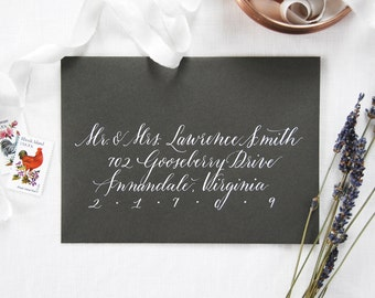 Custom Envelope Calligraphy; Wedding, Hand-written Address in Lincoln Style Font