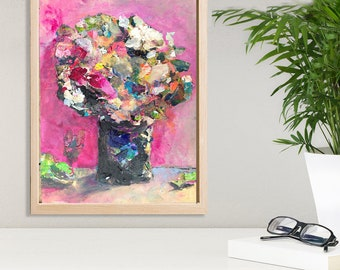 Abstract floral art etsy floral art floral painting original painting abstract art painting of flowers pink flowers heavy paint art prints kate joiner mightylinksfo