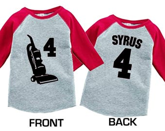 Personalized Vacuum Cleaner Birthday Shirt-3/4 or long sleeve relaxed fit raglan baseball shirt-Any name - pick your colors!