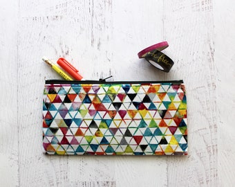 Watercolor triangles print pencil pouch - artist pencil holder - gift for students - colorful pencil case - zipper pouch - pencil bag