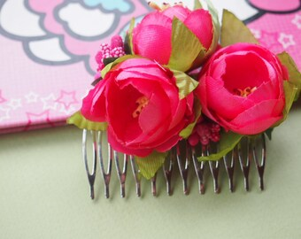 Pink Flower Hair Comb - Flower Hair Combs, Floral Hair Comb, Flower Hair Comb, Pink Hair Combs, Hair Accessory, Pink Floral Hair Comb