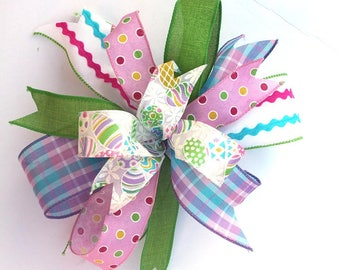 Easter Eggs bow for wreaths, mantle bow, lantern bows, holiday bows, wedding bows, spring holiday decor