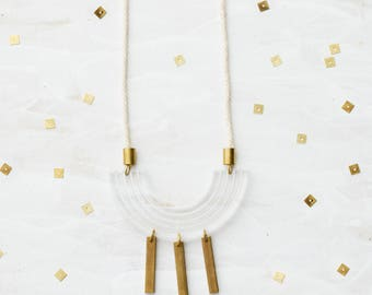 lucite necklace,  Statement Acrylic Necklace, Clear Acrylic & Brass, statement necklace, gift for her, mother's day gift - Shift Necklace