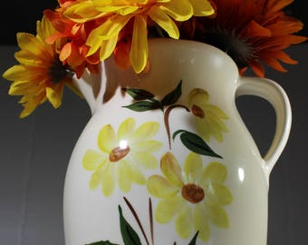 Vintage American Bisque Pitcher/Jug Yellow Daisy Floral Design