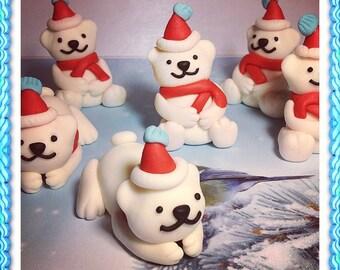 Fondant Polar Bears Cake Topper Set