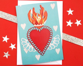 Sacred Heart Wedding Anniversary Card - Mexican Flaming Heart - Mexico Love Card - Anniversary Cards - Wedding Gifts - Engagement Card