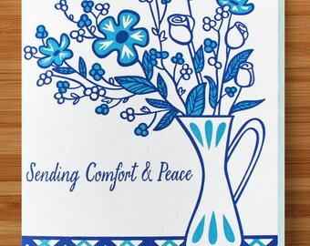 Blue Flowers Sympathy Card